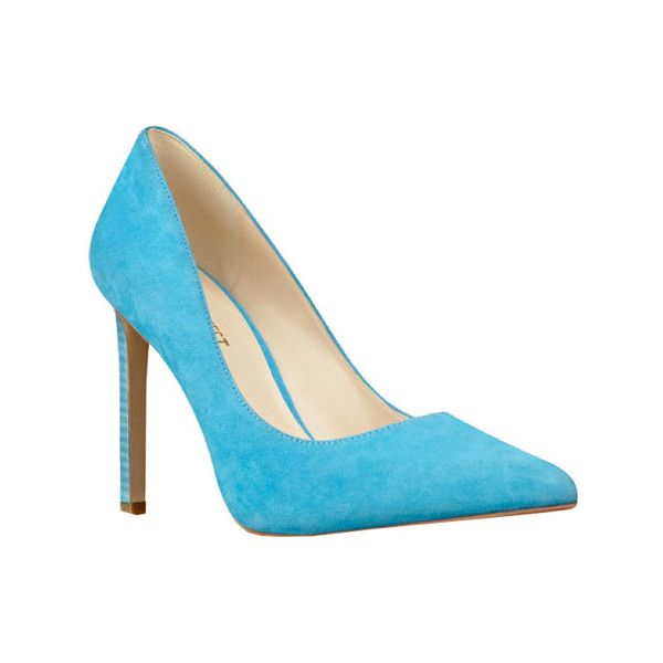 Women's Nine West Tatiana - Turquoise Suede Casual ($60) ❤ liked on Polyvore featuring shoes, pumps, casual, greenish blue, high heels, nine west shoes, high heel shoes, pointed toe high heel pumps, blue pumps and blue pointed toe pumps