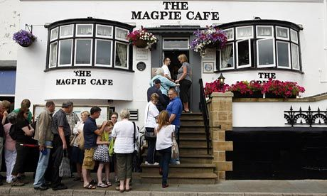 best fish and chips in england.. Queue  was always this long at the Magpie Cafe, Whitby, North Yorkshire, England. Worth queueing for 50 mins, Beautiful!