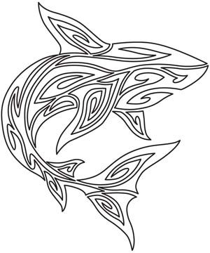 Embroidery Designs at Urban Threads - Tribal Shark-$1.00
