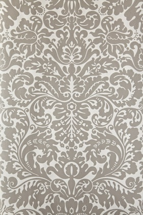 Farrow & Ball white and grey damask wallpaper (Silvergate in Grisaille, #BP1723)