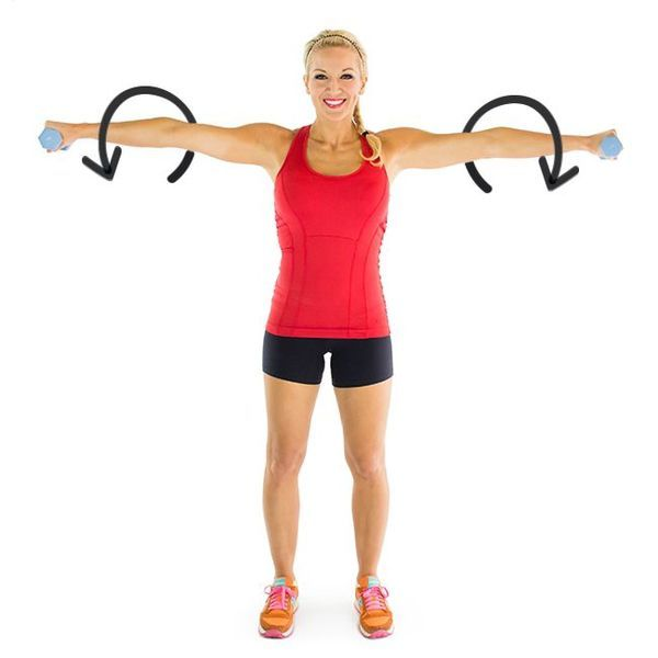 Weighted arm circles is a beginner move that will sculpt shoulders and arms in three simple steps.