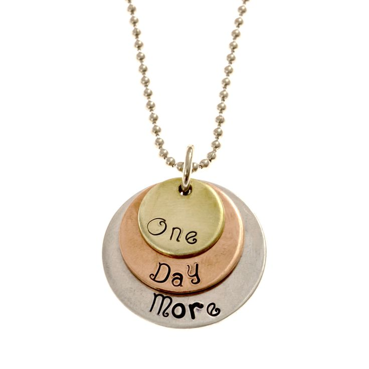 "Les Misérables ""One Day More"" Necklace Tri-Layer brass, copper, and aluminum necklace with an 18"" aluminum chain. Each necklace comes in an organic pouch, ready for gift giving! Perfect for fans of th"