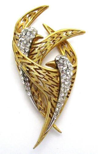 BOUCHER-Double-Bird-Brooch-Pin-Crystal-Rhinestone-18k-Gold-Plated-Very-Graceful