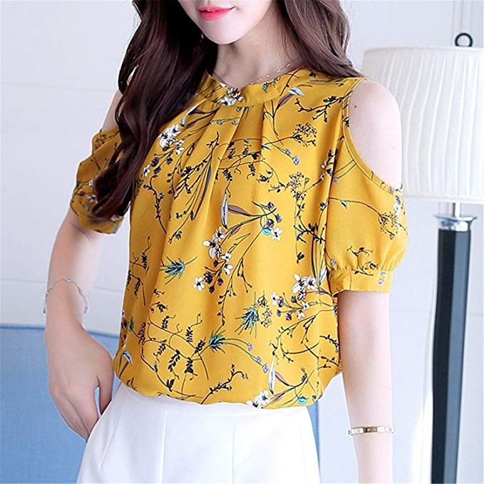 195f3e12b49 OUXIANGJU Womens New Arrival Chiffon Floral Shirt Open Shoulder ...