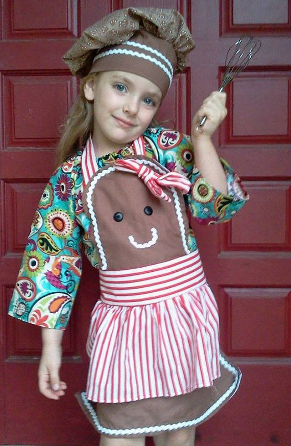 Gingerbread Girl Apron (boy versions available).... but what makes this set is the CHEF HAT!