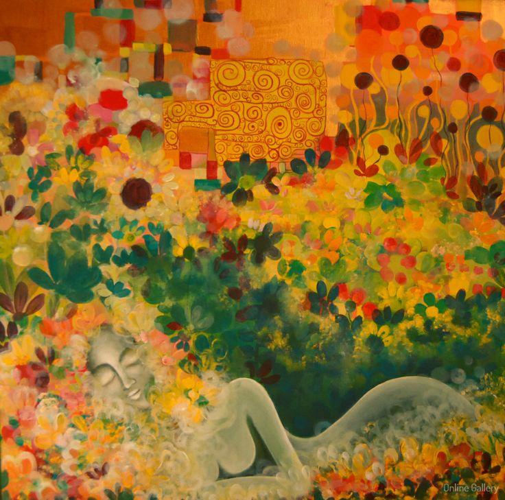 Coconul frunzei- pictura pe panza #art, #Painiting, #Creative