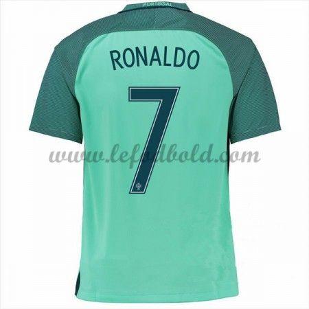 Billige Fodboldtrøjer Portugal 2016 Landsholdstrøjer Cristiano Ronaldo 7 Kortærmet Udebanetrøje