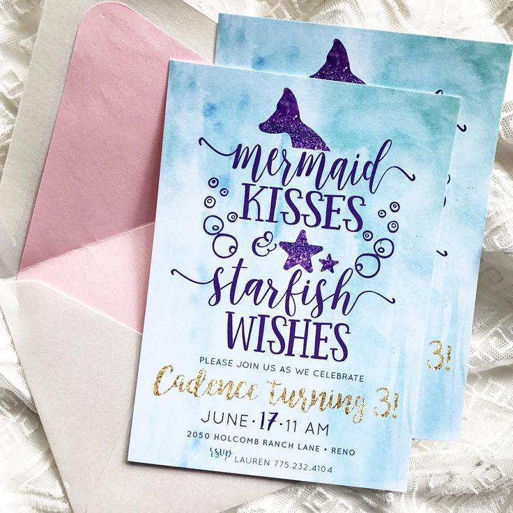 wording ideas forst birthday party invitation%0A watercolor mermaid birthday invitations