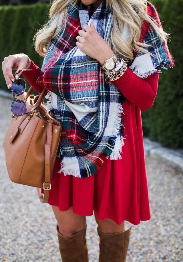 #preppy #fashion /  Printed Scarf // Camel Leather Tote // Red Dress // Camel OTK Boots