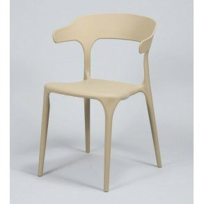 Spisebordsstol i beige plast.