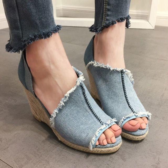 Alta calidad mujeres sandalias casual jean paño de la lona de señora bombas peep toe resbalón de las mujeres zapatos de tacón alto azul color