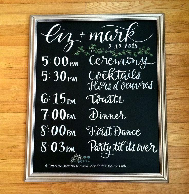 Wedding Chalkboard Signage :: Order of Events