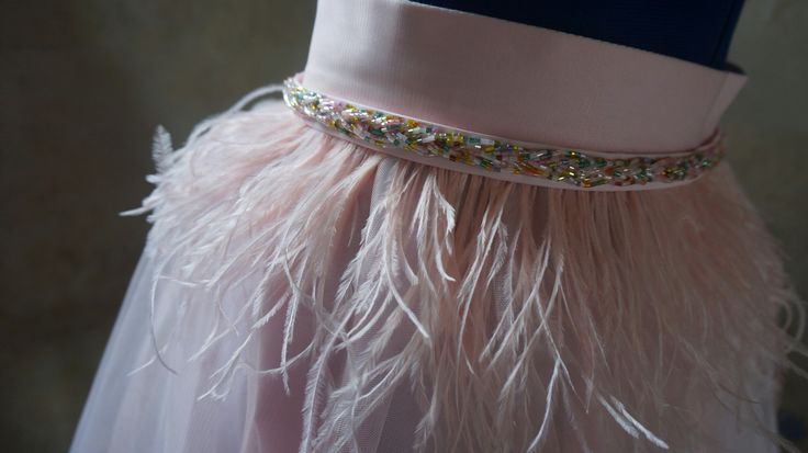 Feathers and beads details on tulle skirt design by Alina Puscas Brudar