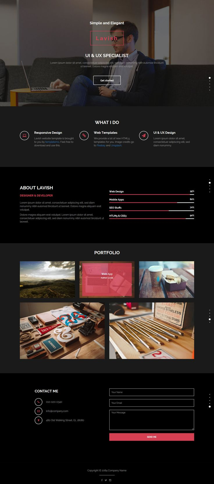 Lavish is one-page scroll portfolio template on darkgray and black colors. Bootstrap v3.3.4 mobile layout.
