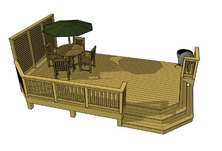 Deck plan.  Instead of two stairways just have one in the corner.