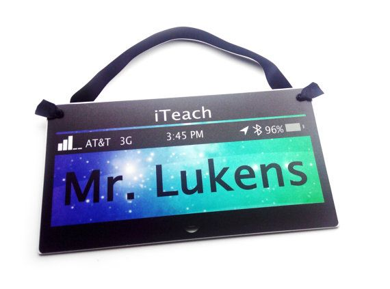 technology themed male teacher classroom door sign  by kasefazem
