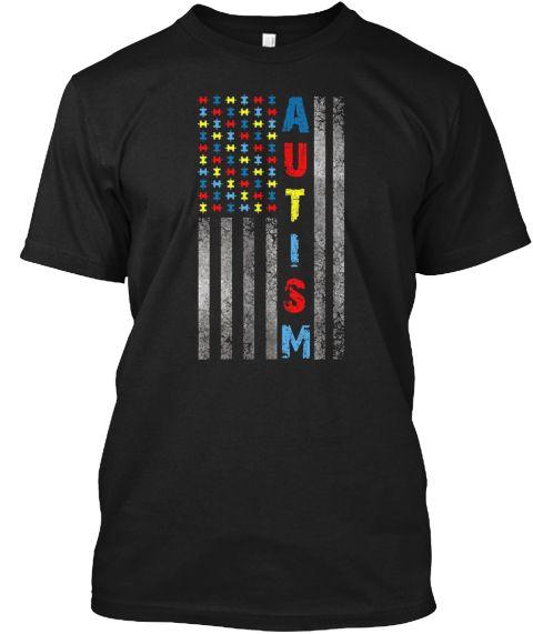 Autism Awareness American Flag T Shirt Black T-Shirt Front