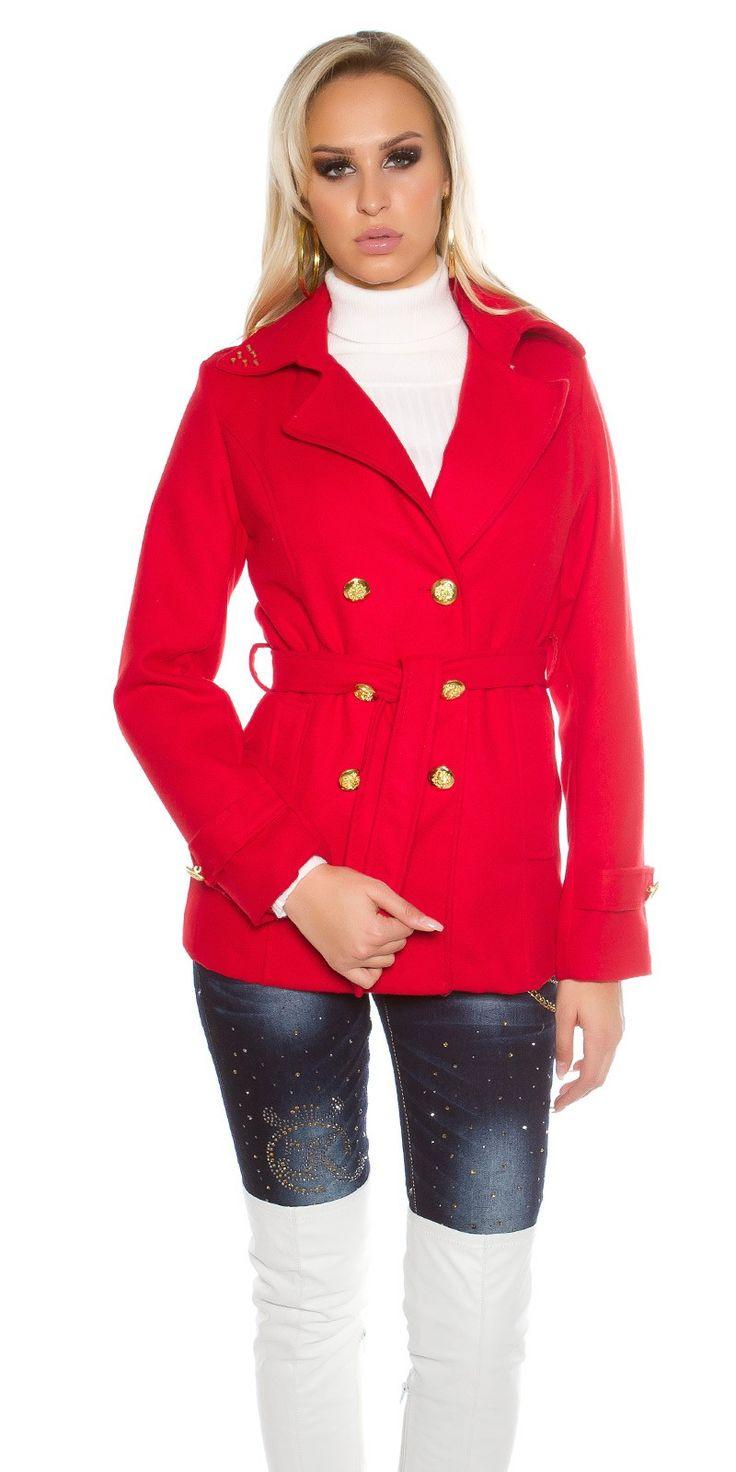 Kort kappa med bälte - Röd