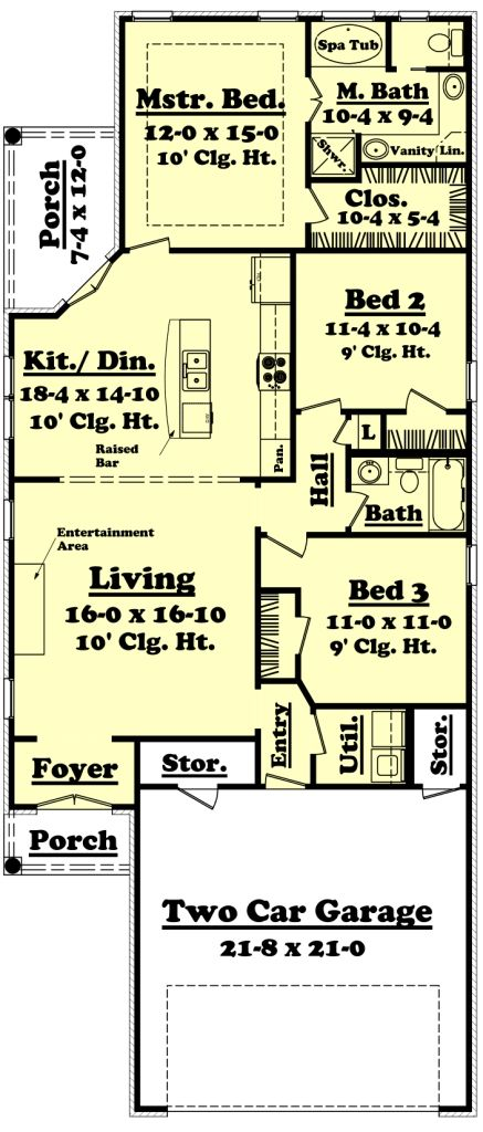 House plan 041 00038 narrow lot plan 1 400 square feet for European house plans for narrow lots