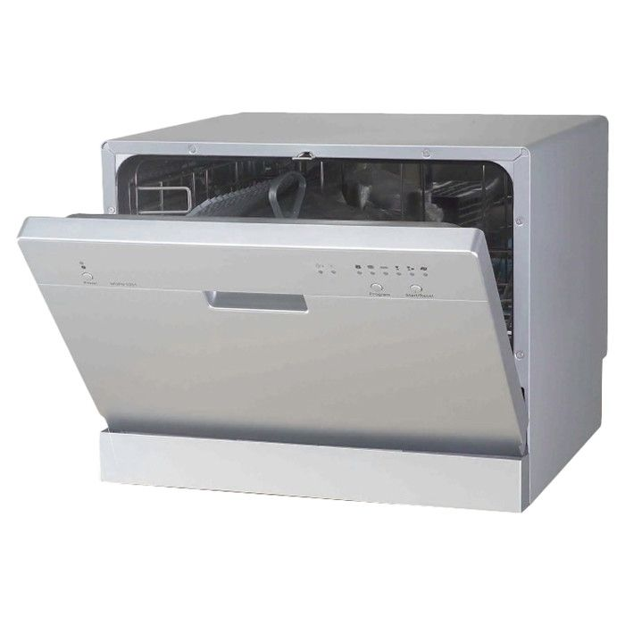 Features:  -Stainless steel material.  -Residual heat drying.  -Dishwasher is not recommended to be hardlined.  Product Type: -Countertop.  Finish: -Silver.  Sound Rating: -55 Decibel.  Number of Cycl