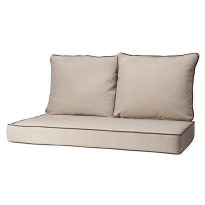 Rolston 3 piece outdoor replacement loveaseat cushion set beige chocolate loveseats Loveseat cushions outdoor