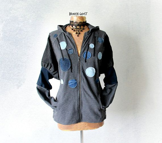Grey Hipster Hoodie Up Cycled Jacket Polka Dots Recycle Jeans Denim Casual Clothing Wearable Art Jacket Zipper Front Grunge Clothes M 'BELLA