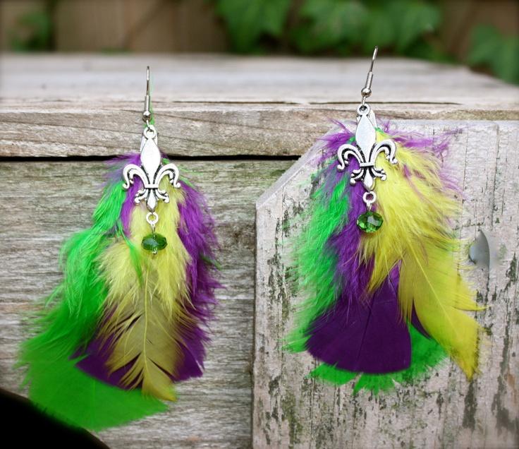 Mardi Gras Feather Earrings