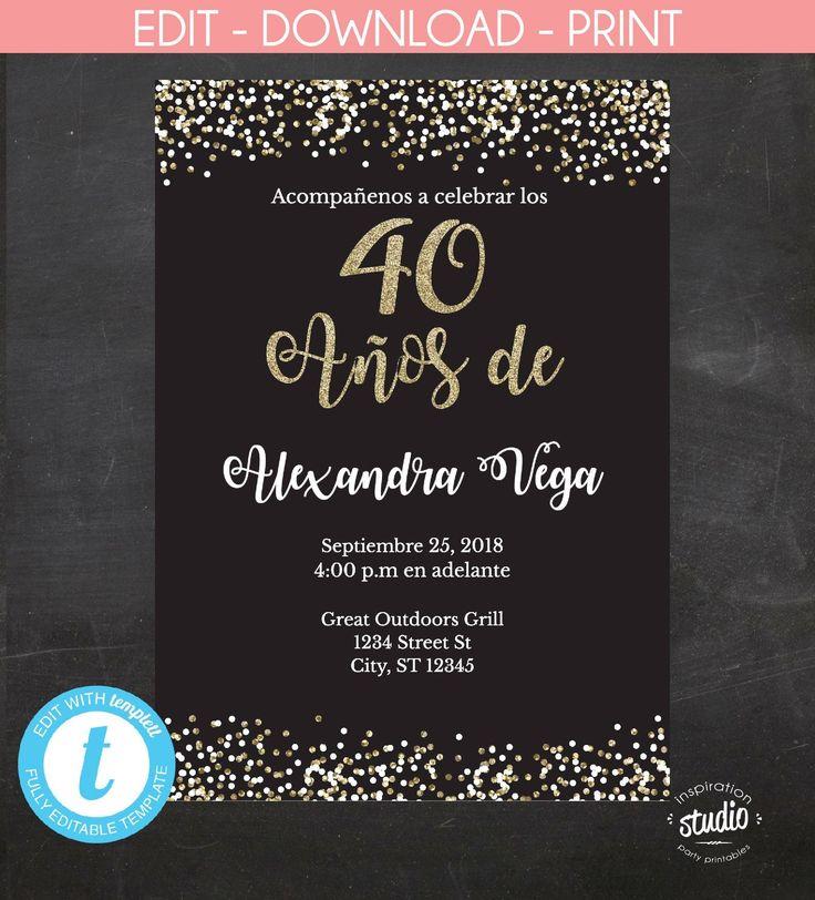 40 Años de, Spanish, 40th Birthday Invitation, Invitación