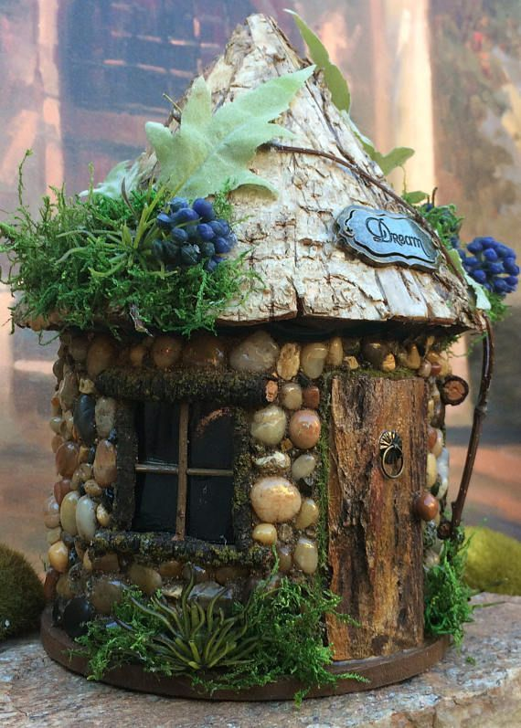 This handmade whimsical Fairy Cottage would be perfect in any fairy garden. Every cottage made at The Healers Garden is a little different from the other which makes it fun when collecting little houses for your fairy garden. At The Healers Garden we are dedicated to only the finest craftsmanship. Each little cottage is made using outdoor glues and is finished off with a outdoor urethane. Whats nice about having a natural stone house is that your Fairy cottage will not fade from the sun…