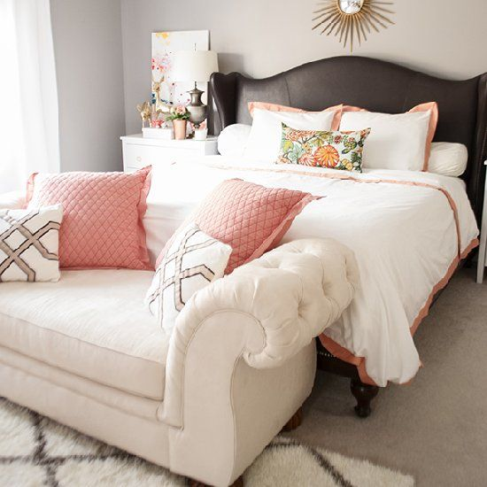 Spring bedroom update with the color combo copper, coral and blush.