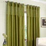 Pippa Lined Eyelet Curtains Green