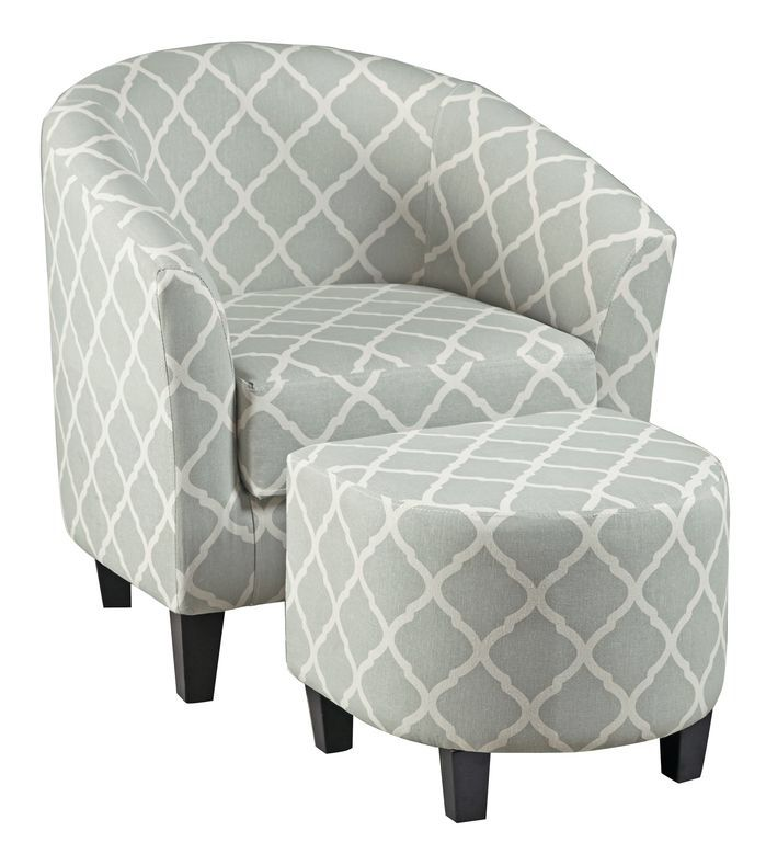 Upholstered Barrel Chair and Ottoman Set