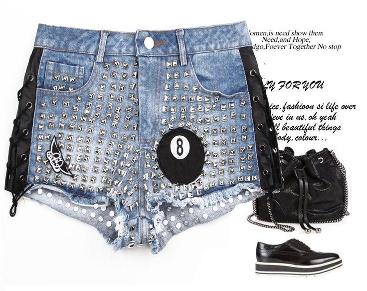 Мелинда стиль 2015 новый летний шорты джинсовые шорты заклепки deocrated мода шорты бесплатная доставка, принадлежащий категории и относящийся к на сайте AliExpress.com | Alibaba Group