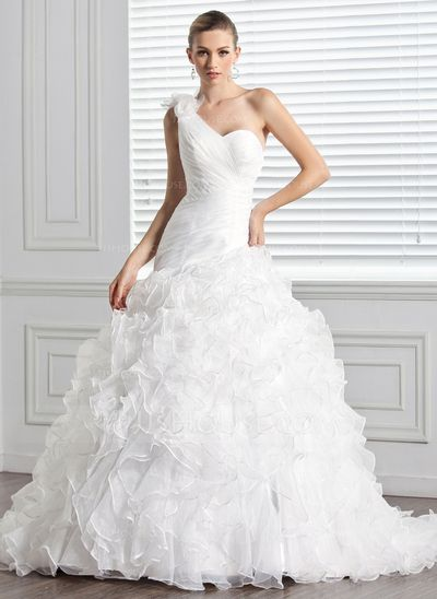 Ball-Gown One-Shoulder Chapel Train Organza Wedding Dress With Flower(s) Cascading Ruffles (002000590)