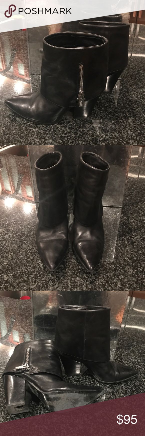 Sigerson Morrison black leather booties-9.5 Sigerson Morrison black leather fold down booties with silver zippers. Size 9.5 Sigerson Morrison Shoes Ankle Boots & Booties