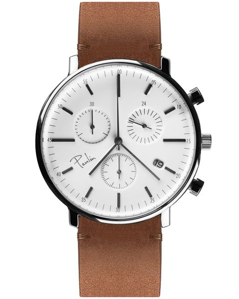 From their debut collection, the Paulin C200E Chronograph in Silver and Tan Brown is an understated and minimalist take on the classic dress watch.