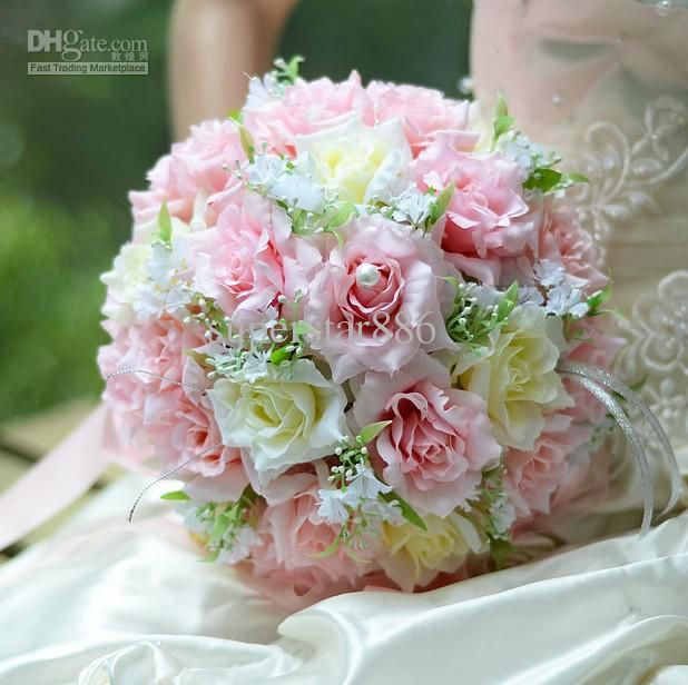 Wholesale silk wedding bouquets wedding bouquets fake flowers beautiful romantic pe wedding bouquet pink artificial rose flowers yiy bridal bouquets colors bridal throw bouque mightylinksfo