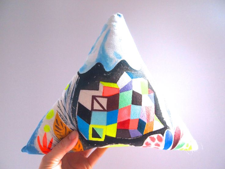 Geometric Mountain hand painted canvas wall decoration soft sculpture by JessQuinnSmallArt on Etsy https://www.etsy.com/listing/215384828/geometric-mountain-hand-painted-canvas