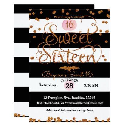 Halloween Sweet 16 Birthday Party Black White Pink Card - birthday gifts party celebration custom gift ideas diy