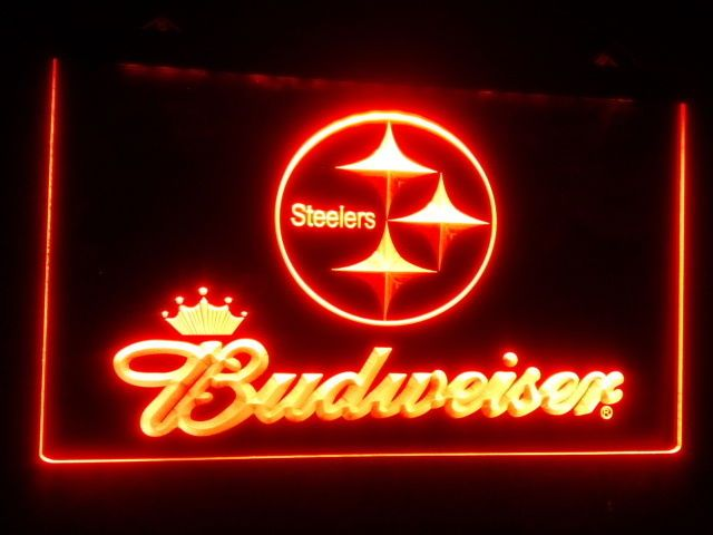 Steelers Budweiser LED Sign Neon Light Sign Display Man Cave