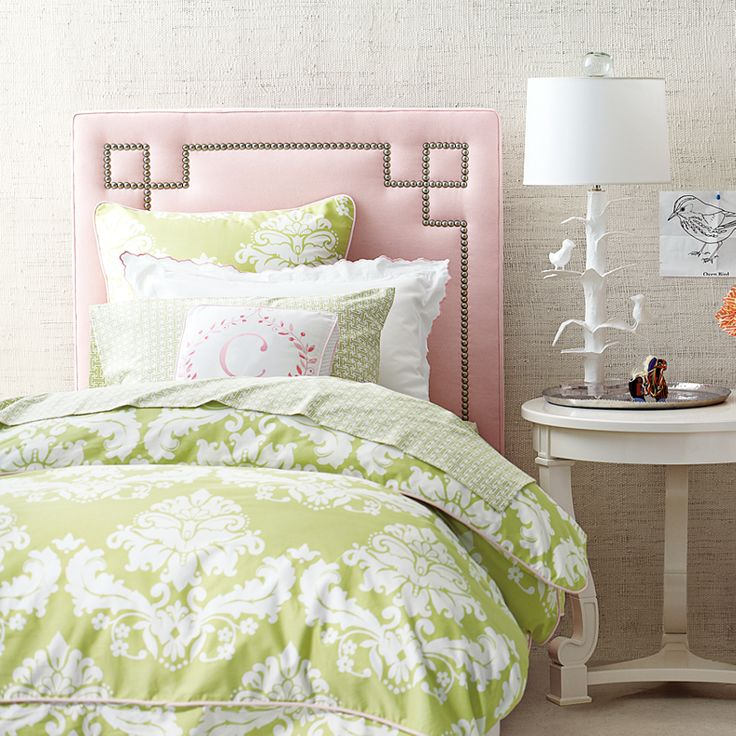 Just lovely for a bedroom. Caroline Green and Pink Bedding for Master & Guest Rooms | Serena & Lily