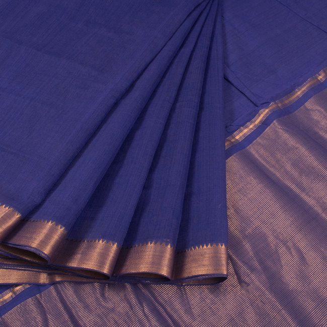 Buy online Handwoven Dark Blue Mangalgiri Cotton Saree With Zari Border & Zari Pallu 10014947