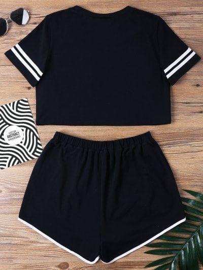 Conjunto de dos piezas de pantalones de muesca con contraste de unión – S negro…
