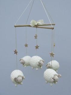 Baby Mobile, Nursery Mobile, Sheep Mobile, Lamb Mobile, Crib Mobile, Crochet Sheep, Baby Gift, Childs Room Decor, Animal Mobile, Natural