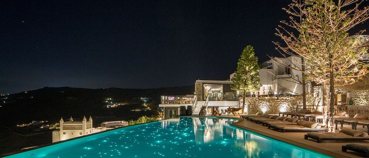 Myconian Utopia Pool by Night