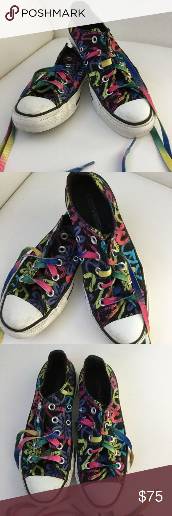 Converse Sneakers  🔵🔴🔵🔴🔵🔴🔵🔴🔵🔴🔵 Black with bright patterns. Heels intact. Converse Shoes Sneakers