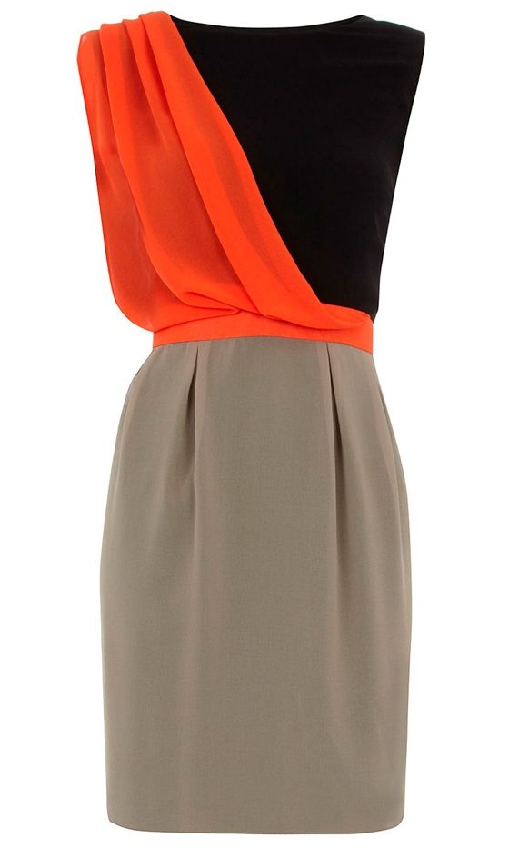// color block drape dress