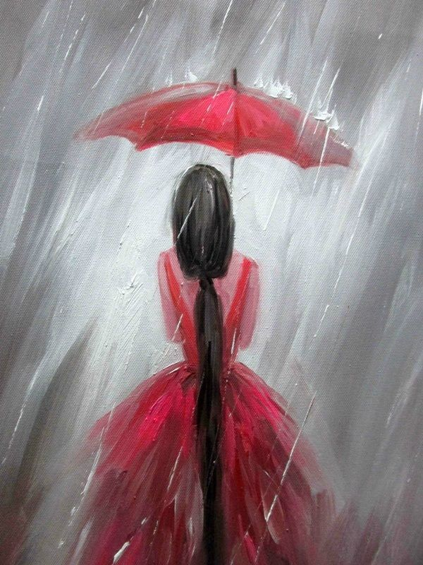GIRL IN THE RAIN | CANVAS PAINTING IDEAS | EASY CANVAS PAINTINGS | PAINTING IDEAS FOR BEGINNERS | 45 Easy Canvas Painting Ideas For Beginners
