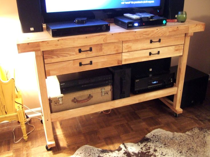 read my blog post about how this workbench became an entertainment center - jenny elkins
