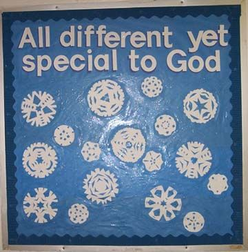 "snowflakes, I'd like to add the word ""We're"" so it reads: ""We're all different, yet special to God!"" then add John 3:16 also."